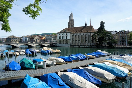 View of Limmat river and Zurich, Switzerland
