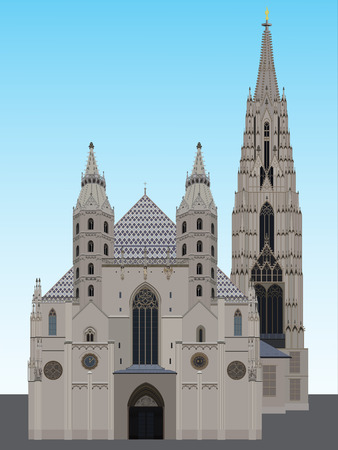 austria: Romanesque Towers on the west front, with the Giants Door of St. Stephens Cathedral, Vienna