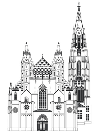 romanesque: Romanesque Towers on the west front, with the Giants Door of St. Stephens Cathedral, Vienna