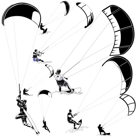 wind surfing: Collection of vector kitesurfers in various poses