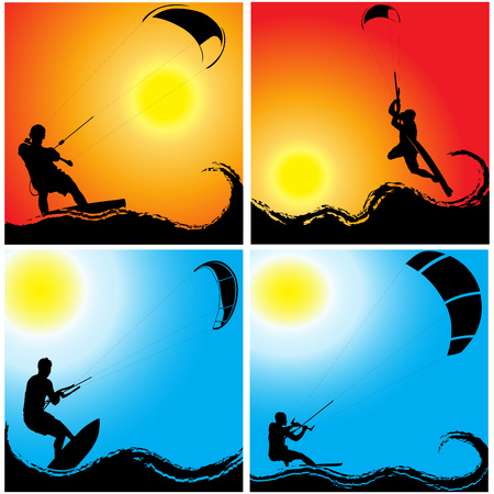 kite surf: Kitesurfing on waves at sunset and sunrise
