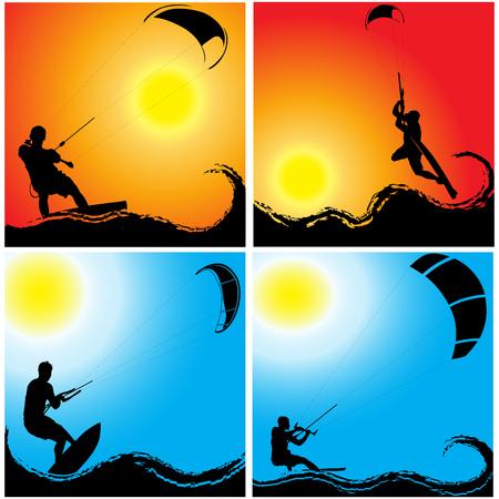 Kitesurfing on waves at sunset and sunrise