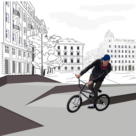 BMX cyclist rides on a background of the cityscape