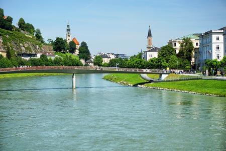 salzach: Salzburg skyline with river Salzach, Austria Stock Photo