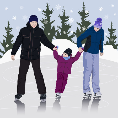 skating rink: Family on an outdoor ice skating rink
