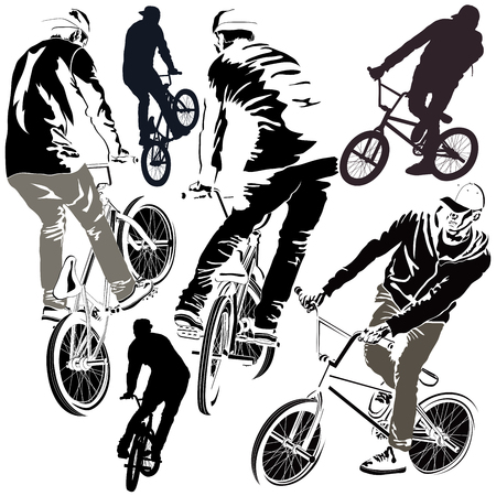Collection of silhouettes BMX bikers in various poses Illustration
