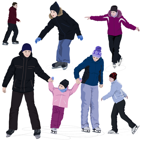 Common people on an skating rink isolated in white