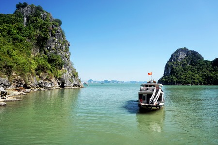 Cruise tourist boats at Halong bay, Vietnam