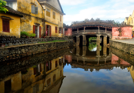 Japanese Covered Bridge in Hoi An Ancient Town, Vietnam Stock Photo