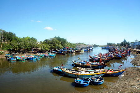 Traditional boats of fishermen Vietnam, Southeast Asia Stock Photo