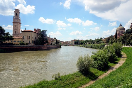 View of the Ponte Nuovo over the Adige River in Verona, Italy