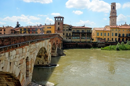 View of Adige river and St Peter bridge, Verona, Italy
