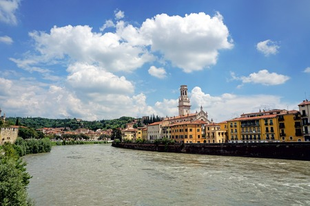 View of Adige river Verona, Italy Stock Photo