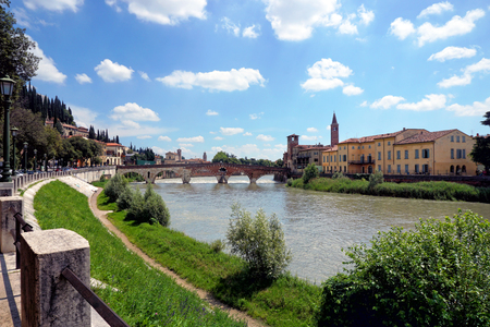 Ancient Roman bridge in Verona, Italy, Ponte di Pietra
