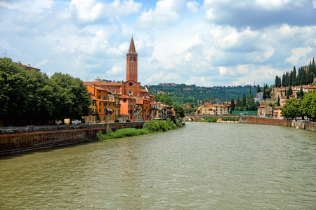 Beautiful view of the Santa Anastasia church. Verona, Italy