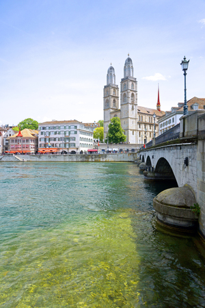 View of the Grossmunster Church and the Limmat River, Zurich, Switzerland