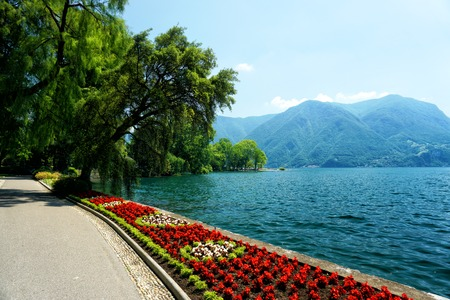 Beautiful Ciani Park in Lugano, Switzerland Stock Photo