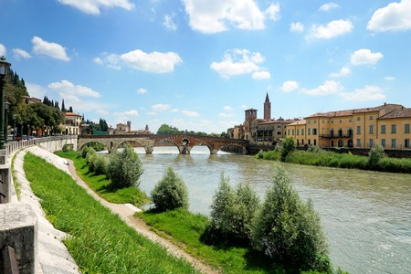 Ancient Roman bridge Ponte di Pietra in Verona, Italy Stock Photo