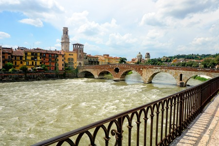 View of Adige river and St. Peter bridge, Verona, Italy Stock Photo