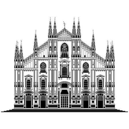 Vector illustration on the Milan cathedral (Duomo di Milano), Italy, isolated in white