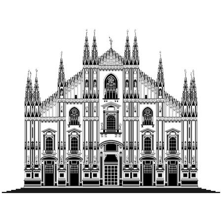 Vector illustratie op de kathedraal van Milaan (Duomo di Milano), Italië, geïsoleerd in het wit