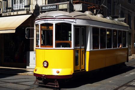 Yellow tram in the Lisbon