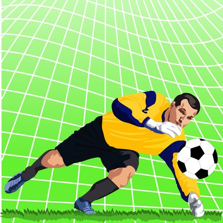 Detailed vector illustration of jumping soccer goalie