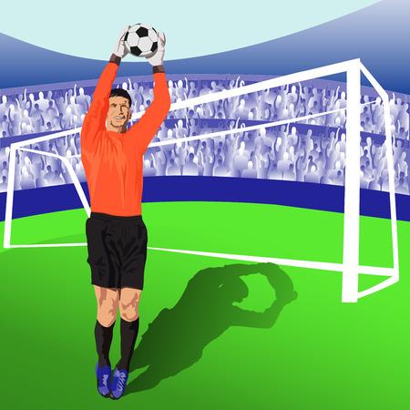 jumping soccer goalie Illustration