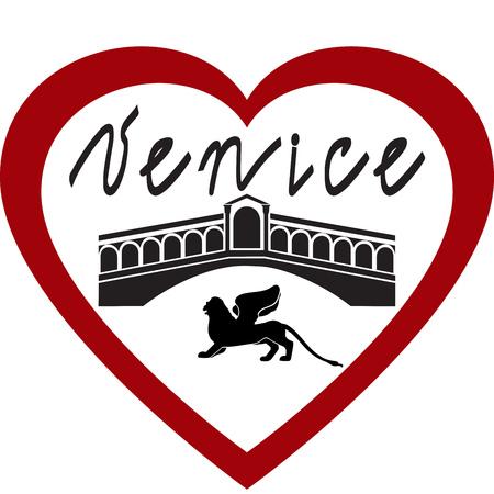 I love Venice vector image on white background