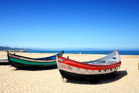 Portuguese fishing boats on the beach, Nazare