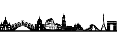 Silhouette of World famous landmarks Illustration