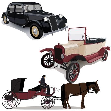 Cars evolution on white 일러스트
