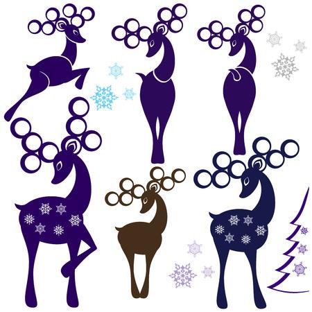 Detailed vector illustration of a cartoon deers Ilustrace