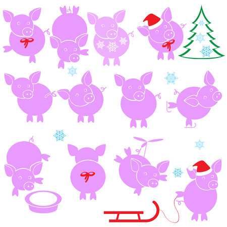 Detailed vector illustration of a cartoon pigs Ilustrace