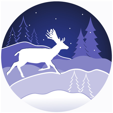 Vector illustration of a christmas deer in winter forest