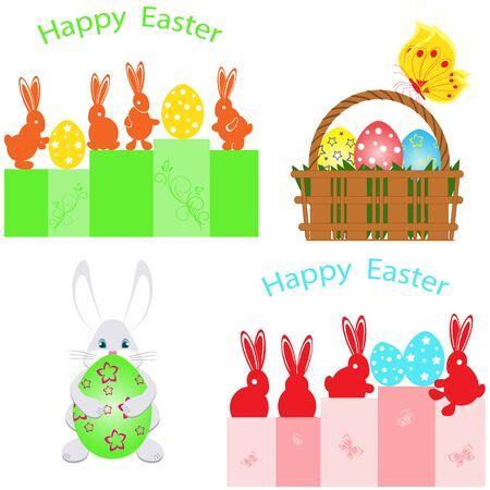 Easter basket and rabbits illustration