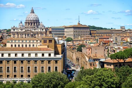 city view from San Peters Basilica in Italy