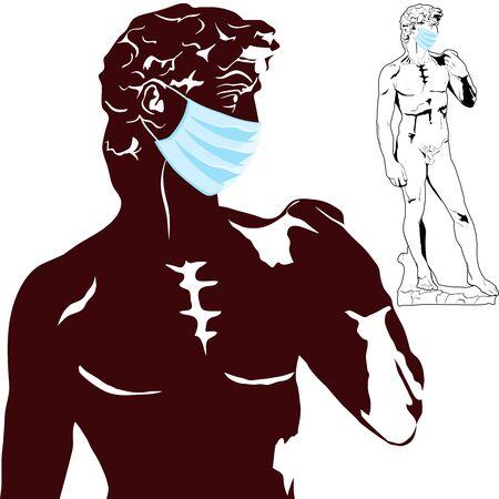 David in medical mask