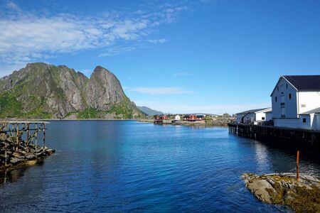 Beautiful fishing village and cod in Lofoten Islands, Norway