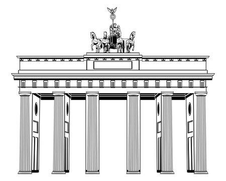 Brandenburg Gate isolated on white