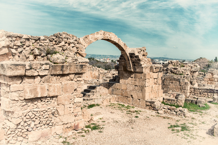 Saranta Kolones, ruined medieval fortress in Paphos Archaeological Park, Cyprus Stock Photo