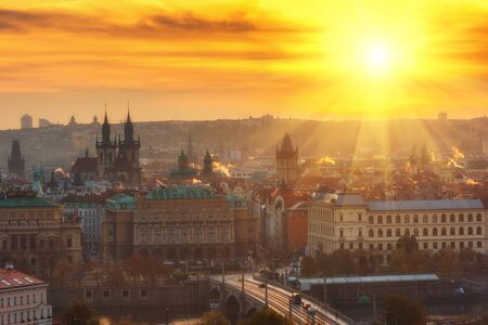 Golden sunrise over Prague old town, colorful cityscape, Czech Republic