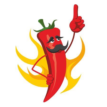 Burn hot chili pepper in fire flame.