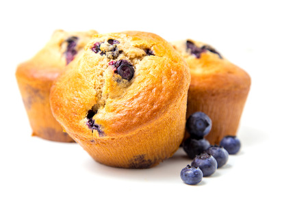 Blueberry muffins isolated on white background  photo