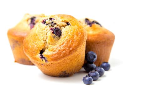 Blueberry muffins isolated on white background Reklamní fotografie - 26337337