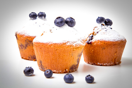Blueberry muffins with powdered sugar photo