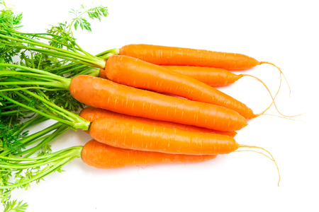 Fresh Carrots isolated on white background Stock Photo