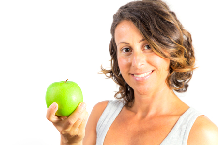 Pregnant Woman Holding Apple isolated on white background Stock Photo