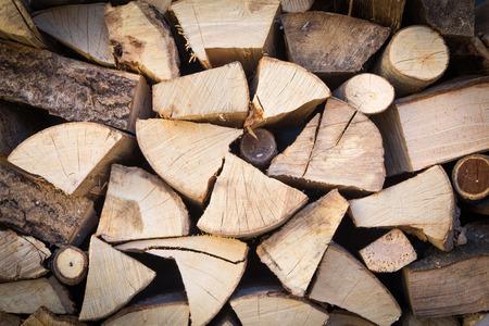 Contexte de tas de bois de chauffage coupé Banque d'images