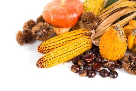 horn of plenty: Autumn harvest - fresh autumn fruits and vegetables on wicker basket on white background Stock Photo